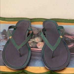 Tory Burch flip flops size 11 Green